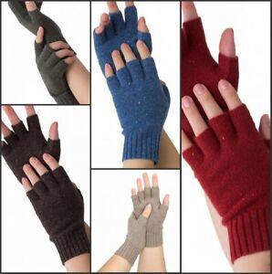 Prettystern Damen 100% Kaschmir-Wolle Halb-finger Pulswärmer Stulpen Handschuhe