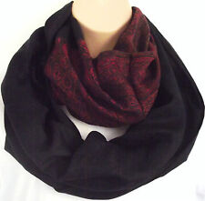 Quality Winter Weight Red & Blk Paisley Print Circle Loop Infinity Scarf Snood