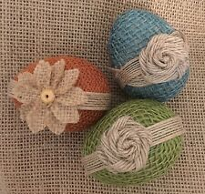 Primitive Handmade Easter Eggs Spring Jute Burlap Flower Bowl Filler Ribbon Set3