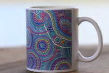 Aboriginal Painted Art on a ceramic coffee cup/tea by an Aboriginal Artist.