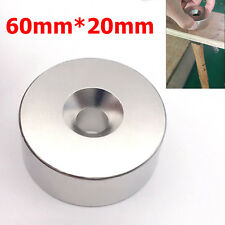 35kg Huge Round Neodymium Rare Earth Ring Magnet Hole Super Strong N52 60mm*20mm