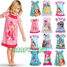 Kids Girls Nightie Nightdress Disney Dress Character Children Pyjamas 2-13 Years