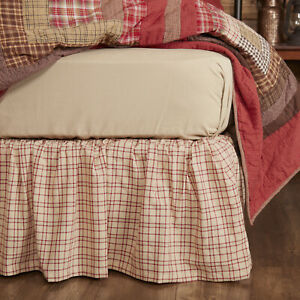 VHC Brands Tacoma Rustic Queen Bed Skirt Creme Barn Red Evergreen Plaid 60x80x16