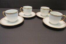 4 Art Deco DEMITASSE Espresso CUPS & SAUCERS French Limoges Gold Geometric Antiq