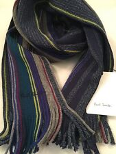 Paul Smith Men Scarf Wool Stripe Made In Germany 100% Pure New Wool