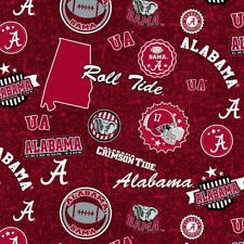 University of Alabama Crimson Tide Cotton Fabric w Home State Design-By the Yard