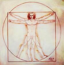 LEONARDO da Vinci-Studio delle proporzioni 60x60 cm riproduzione DIPINTO AD OLIO