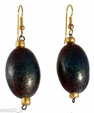 Teal Green & Gold Colour Wooden Earrings CJE862