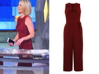 Karen Millen Red Tailored Culotte Crop Jumpsuit All One Laceup Dress 10 38 PA074