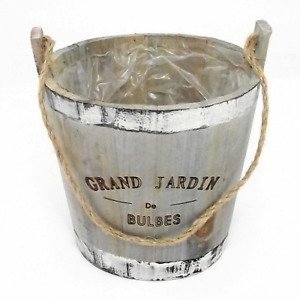 """Round wooden planter with rope handle 16 cm tall """"GRAND JARDIN De BULBES"""" flower"""