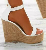 Women Holiday Espadrille Wedge Heel Sandals Buckle Peep Toe Ankle Strap Shoes