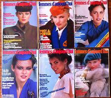 A79) lot de 6 Femmes d'Aujourd'hui 1979; Modes, Beauté, Cuisine, Maison, Lecture