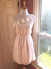 Vintage 80's cotton one-shoulder mini dress, white polka dots, pockets S