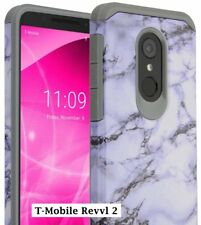 T-Mobile REVVL 2 - Hard Hybrid Armor Impact Phone Case White Gray Marble Pattern