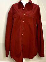 L. L. Bean Men's Heavy 100% Cotton Cranberry Button Front Shirt Size XL -Tall