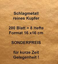 200 Blatt Schlagmetall Kupfer rein wie Blattsilber Blattgold Blattmetall 16x16cm