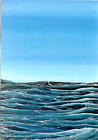 PRINT of ACEO GLOSSY Rough Sea Ocean Waves Seascape Birds Art PRINT HYMES