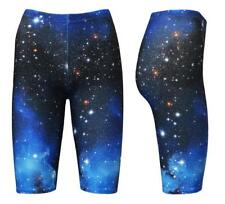 Women's Blue Galaxy Space Cosmos Planets Print Cycle Cycling Shorts Yoga Active