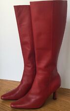 """Moda Spana Womens Tall Red Leather Boots Pointed Toe Size 5 M 3.25"""" Square Heel"""