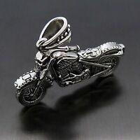 Men's Solid Skull Rider Motorcycle Bike 316L Stainless Steel Biker Pendant