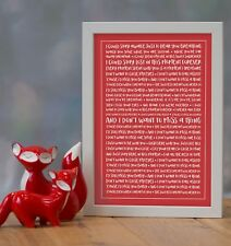 More details for aerosmith 'don't want to miss a thing' personalised song lyrics framed print