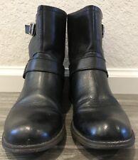Steve Madden TOKKEN Black Leather Zip Buckle Biker Ankle Boots Womens Size 7 M