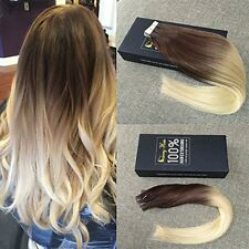 """24"""" Tape 100g Bleach Blonde Brown 4 613 Dip Dye Ombre Remy Human Hair Extensions"""