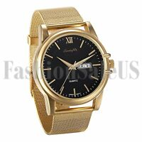 Men's Gold Tone Steel Roman Numberals Dial Mesh Band Sport Quartz Wrist Watch
