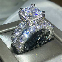 Real 10k White Gold 5 Ct Diamond Engagement Ring Matching Band Bridal Set