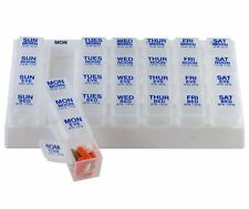 White Medication Pill Organizer Tray Weekly Daily 4 Dose Planner Large Dispenser