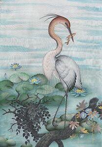 Hand painting Balinese Stork Birds 312