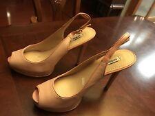 Guess Huela Platform Pump Pink Leather With Patent Heels Slingback Size 9