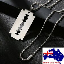 Street Punk Hip Hop Pendant Razor Blade Shaped Dogtag Necklace Stainless Steel