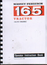 "Massey Ferguson ""165"" Tractor Operator Instruction Manual Book"