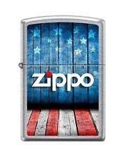 Zippo 8433 USA Flag Zippo Logo Street Chrome Full Size Lighter