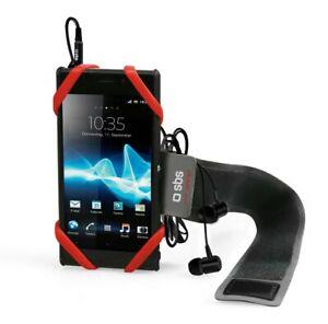 "SBS Smartphone/ Mobile Phone Universal Elastic Sports Arm Band 4-6"" Black/Red"