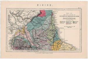 Antique Map Coal Fields Northumberland Cumberland Durham. William Mackenzie 1885