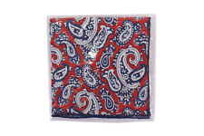 Seaward & Stearn NWT 100% Linen Pocket Square in Red w/ Navy & White Paisley