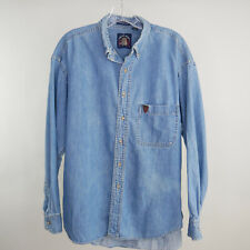 Salty Dog Gant Womens L Denim Shirt Blue Chambray L/S Button Front