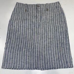 J CREW Pencil Skirt Size 8 Striped Womens lined Linen