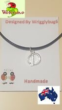 "BRAND NEW SILVER LETTER ""D"" CHARM ON BLACK NECKLACE, XMAS GIFT, GREAT VALUE 203"