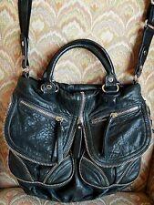 LOCKHEART Black Pebbled Leather Handbag Satchel Zippers Detail SPECTACULAR! $595