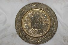 """14"""" BRASS WALL HANGING DECORATIVE CHARGER PLATE SHIP AT SEA SCENE"""