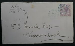 1889 Victoria Australia 2d Mauve Stamp Duty on Cover Blue Port Fairy Cancel