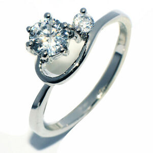 White Gold Filled Crystal Heart Promise Ring for Womens Female Rings Size 6