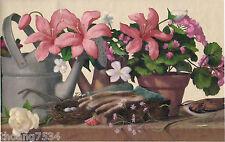 Watering Can Geranium Potted Day Lily Flower Garden Bird Nest Wallpaper Border