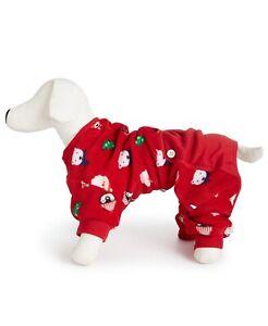 Family PJs Red Fleece Holiday Pet Dog Pajamas Size MEDIUM M
