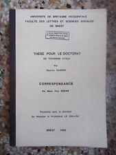 Maurice GASNIER, Correspondance de Mme Vve Renan (Thèse de Doctorat)