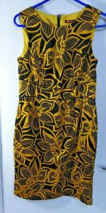 Savoir dress womens Yellow & Black Print Lined bodycon cotton mix Summer UK12
