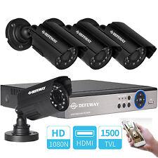 Defeway 4CH 1080N CCTV DVR 4x1500TVL Outdoor Night Vision Security Camera System